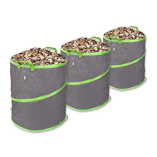 *Schramm 3er Pack Pop-up Gartensack 85L Grün/Grau Sehr Stabiles Polyester Oxford Selbst Aufstellend Gartensäcke Pop up Garten Sack Säcke Big Bag*