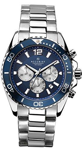 Reloj Infantil de Cuarzo con para Hombre Accurist Azul Esfera cronográfica y Plateado Correa de Acero Inoxidable de 7067,01