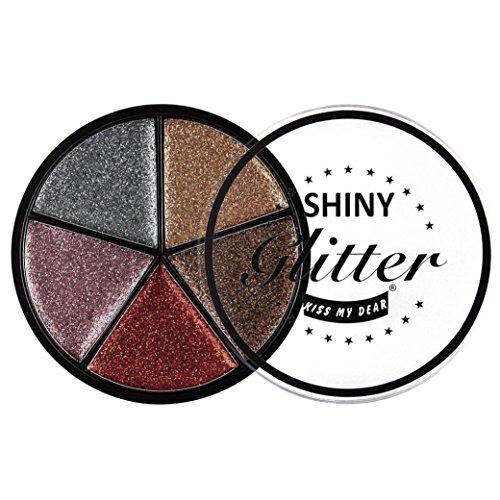 Fards à paupières,5 couleurs Glitter fard à paupières crème maquillage Waterproof égayer ombre à paupières cosmétiques fard à paupières ensemble par LHWY (B)