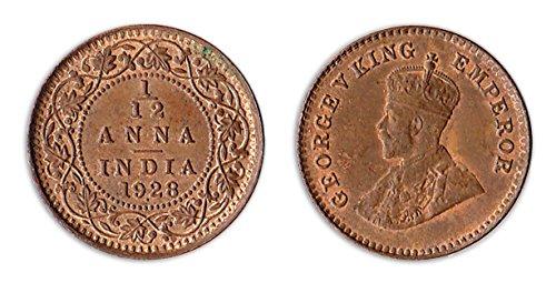 Münzen für Sammler - 1928 Unzirkuliert ein Zwölftel - 1/12 Anna / Indien (Regierung Mint)