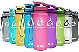 Grsta Sport Trinkflasche 20oz-600ml - Wasserflasche Auslaufsicher, Eco Friendly BPA Frei Tritan Kunststoff Flaschen mit Frucht Filter, Sporttrinkflasche für Kinder, Gym, Yoga, Laufen, Camping (Rosa)