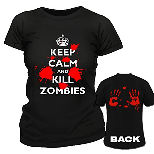 Keep Calm and Kill Zombies, Bloody mani, Maglietta da donna nero Large
