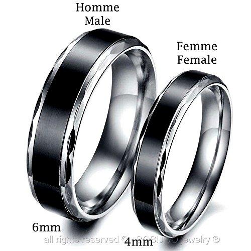 BOBIJOO Jewelry - Alliance Bague Anneau Acier Inoxydable Titane Noir Mariage Fiançaille Couple Au choix - 56 (7 US), Femme Homme