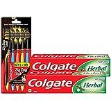Colgate Herbal Toothpaste 200 g (Pack of 2) plus Colgate ZigZag Black Medium Tooth Brush (Pack of 5)