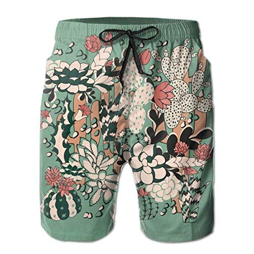 VVIANS Men's Swim Trunks Cactus and Succulent Seamless Pattern Surfing Beach Board Shorts Swimwear Medium -