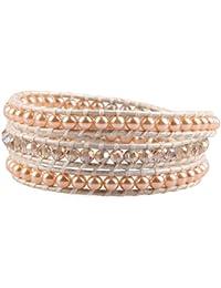 KELITCH Perle Kristall Damen Wickelarmband Leder Armbänder für Party Tanz Hochzeit Braut