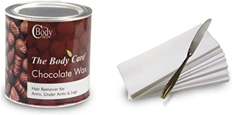 The Bodycare Chocolate Hot Wax 600Gm With 30 Strips & Stainless Steel Knife.
