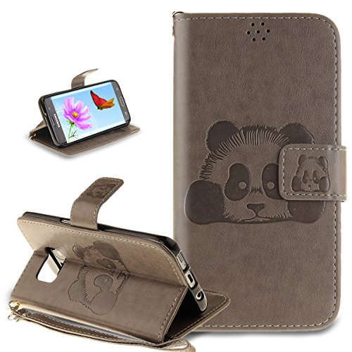 Coque Galaxy S7 Edge,Etui Galaxy S7 Edge, ikasus Coque Galaxy S7 Edge Bookstyle Étui Housse en Cuir Case, Motif Gaufrage Chat papillon Fleur Floral forme arbre Motif Etui Housse Cuir PU Portefeuille Folio Flip Case Cover Wallet Coque Protection Étui avec Flex Soft Silicone TPU et Fonction Support Fermeture Aimantée Carte de crédit Logement Poches Case Coque Housse Étui pour Samsung Galaxy S7 Edge - Gris