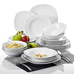 Malacasa, Series Elisa, 24-Piece Cream White Porcelain Dinner Sets with 6-Piece 6.7
