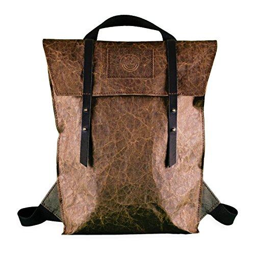 bun-di Swiss® - SHOPPER-BACKPACK STACY   2 in 1 Rucksack Handtasche   Vintage Damen Umhängetasche mit Rucksackfunktion aus Waschbarem Papyr mit Lederoptik   Handmade in Germany   26x38x10cm (NUT)