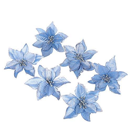 6 pezzi scintillare fiori artificiali per la decorazione, addobbi albero di natale, luccichio, blu poinsettia, 13cm(5.1