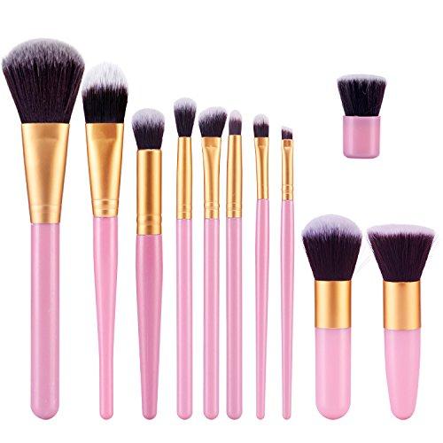 TOPBeauty Kit de Pinceau maquillage Professionnel 11 PCS Ombre a Paupiere Dore Blush Fondation Pinceau Poudre Fond de teint Anti-cerne Kit Pinceaux Pink Gold