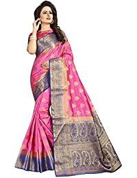 SATYAM WEAVES WOMEN'S ETHNIC WEAR JARI BORDERED KANJIVARAM COTTON SILK PINK-PURPLE COLOUR SAREE.