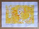 Das gelbe Pferd, Linolschnitt - Originalvorlage von Davide Pacini in Dimensionen von Hand gedruckt cm 29,8x20,9 cm. Made in Italy, Lucca Toskana.