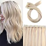 Moresoo 16Zoll/40cm Highlight Farben Echthaar Clip In Extensions One Piece Set #18 Aschblond to Bleach Blonde #613 Glatt Haarverlängerung 50g