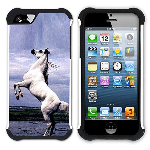 Graphic4You Pferd Tier Design Hart + Weiche Kratzfeste Hülle Case Schale Tasche Schutzhülle für Apple iPhone SE / 5 / 5S Design #3