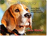 Merchandise for Fans Warnschild - Schild aus Aluminium - Motiv: Beagle Security (02)