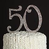 Decorazione per torta in strass per 50° compleanno o anniversario Silver