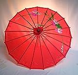 Sonnenschirm 001, Dekoschirm aus Kunstfaser, Wasserfest in rot aus Bambus