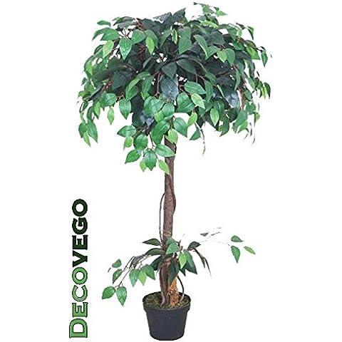 Fico Ficus Benjamin Pianta Albero Artificiale con Legno Naturale 120cm Decovego