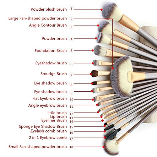 TTRwin� 18 Pcs Professional Makeup Brushes Set, Synthetic Kabuki Face Blush Lip Eyeshadow Eyeliner Foundation Powder Liquid Cream Soft Cosmetic Brushes Kit with PU Leather Bag White