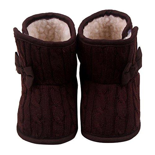 TOOGOO(R) Schleife Baby Weichbesohlte Schuhe Warme Schuhe Winter Stiefel (braun, 13cm) Braun