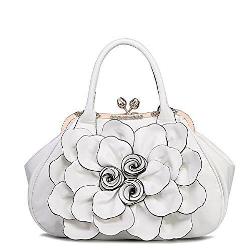 QPALZM QPALZM Frau 2017 Handtaschen-Blumen-Beutel-Schulter-Beutel-Kurier-Beutel-Art- Und Weisedame-Beutel PU-Frauen-Beutel White