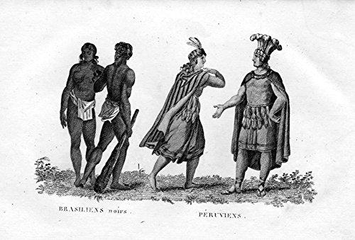 Brasiliens noirs Peruviens - Brazil Brasil Peru Brasilien Tracht Trachten costumes Kupferstich engraving