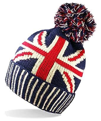 Knitting Pattern For Union Jack Hat : UNISEX UNION JACK FLAG BOBBLE BEANIE HAT: Amazon.co.uk: Clothing