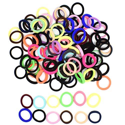 Elastici per capelli,biluer 120pcs cravatte per capelli elastici colorati fasce per capelli per capelli spessi pesanti e ricci and donne & ragazze (multicolore)