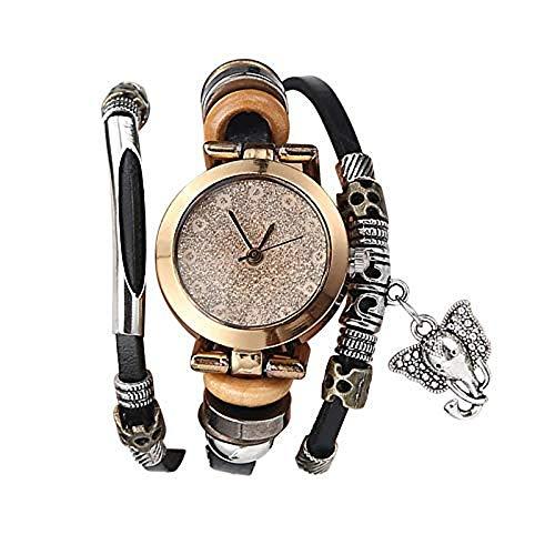 Souarts Damen Armbanduhr Bohemian Stil flackerte Zifferblatt Elefant Anhänger Casual Analoge Quarz Uhr mit Batterie Schwarz