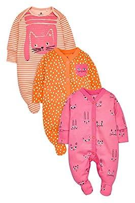 next Bebé Niña Pack De Tres Pijamas Gatos Naranja/Rosa (0 Meses - 2 Años) Corte Estándar