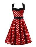VKStar®Retro Chic ärmellos 1950er Audrey Hepburn Kleid/Cocktailkleid Rockabilly Swing Kleid Rot XL