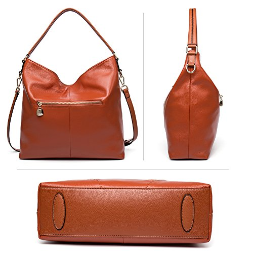 BOSTANTEN Vera Pelle Borsa Donna Sacchetta Tote a Spalla Manico Shoulderbag Top-Handle arancia