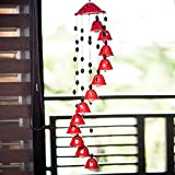 #6: ExclusiveLane Melodious Sound Ceramic Wind Chimes Set Of 12 In Red - Wind Chimes Home Decoratives Wall hanging Door Hangings Decoration Stylish Wind Chimes For Home Wall decor And Hangings Door Decorative Hangings