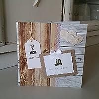 10 Stück Einladungskarte Hochzeit VINTAGE Holzoptik