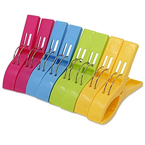 KEESIN Durable Beach Towel Clips Fashion Color Large Sized Plastic Towel Pegs Quilt Clips for Sunbed or Pool,8 Pack