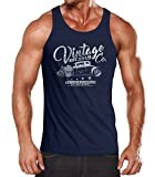 Neverless Herren Tank Top Hot Rod Retro Auto Vintage Car Oldschool Mobile Muskelshirt Achselshirt Navy XXL