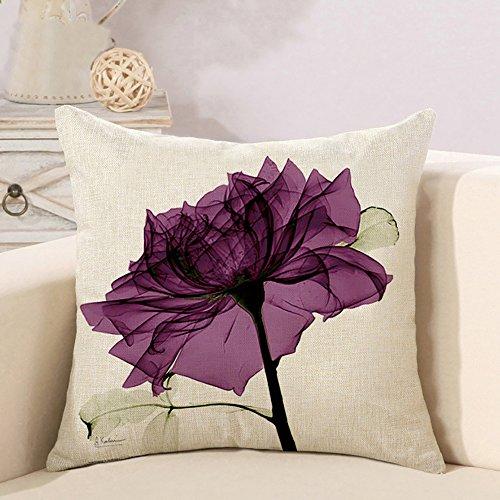 Decorativa almohada Flores Impresión Impreso Sofá Decoración Cojín Caso agarre Bar Funda de almohada cojín de móvil Salón flores morado