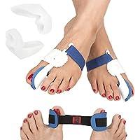 Feetfix Kit de correcteur d'orteil pour hallux valgus–Lot de 5pièces pour hallux valgus et soulagement de la douleur nocturne, comprend 2attelles de gros orteil, 2coques en gel de silicone séparateurs d'orteils et 1redresseur de gros orteil –Qualité médicale.