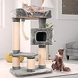 Happypet massiver Premium Kratzbaum, COMPACT CONDO I, für große Katzen (Maine Coon), 8mm Sisal, 15 cm Säulen, 120 cm Hoch, GRAU