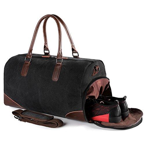 Fresion Retro Sporttasche Reisetasche mit Schuhfach + 14/15 zoll Laptopfach | 36 Liters Weekender Handgepäck Tasche 51x25x28 | Hochwertige Segeltuch + PU Leder Taschen für Damen Herren Schwarz (Leder-weekender-tasche)