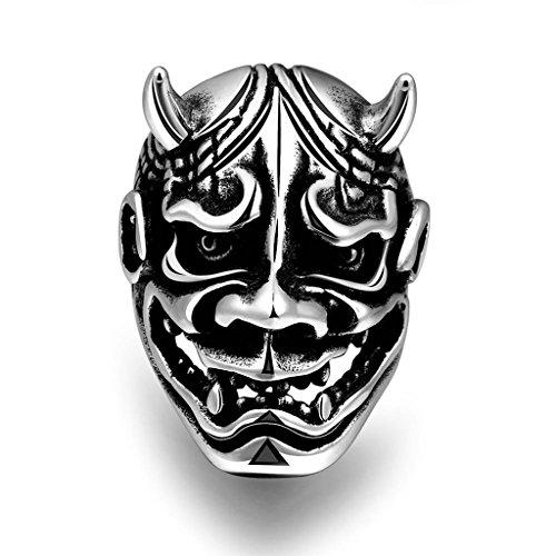 AMDXD Edelstahl Herren Ring Gothic Bull Dämon Maske Silber Schwarz Größe 57 (Augen Maske Schlange)