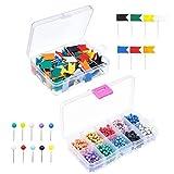 Map Push Pins, Ulable 600 Piezas Map Tacks con cabezal de plástico y Steel Point para mapa y corcho Tablón de anuncios (Color Vary)
