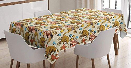 LIS HOME Zirkus-Tischdecke, flüchtige Kreise im Vintage-Stil Bear Rigdding auf einem Fahrrad Strongman Print, rechteckige Tischdecke für Esszimmer Küche Dekor, Orange Amber