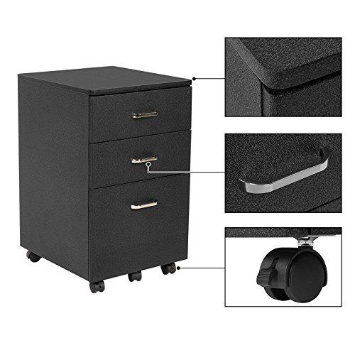vente songmics caisson de bureau mobile caisson de rangement table de chevet 5 roulettes 3. Black Bedroom Furniture Sets. Home Design Ideas