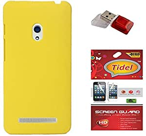 Tidel Stylish Rubberized Plastic Back Cover For Asus Zenfone 5 ( Yellow ) With Screen Guard & Data Card Readar