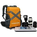 'Caseman aob3Orange Sac Étui de voyage Résistance à l'eau avec housse de pluie Sac à dos pour appareil photo reflex numérique Canon Nikon Sony Pentax