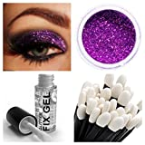 Stargazer Glitter Eyeshadow Fixing Gel + Glitter Eye Shadow + Wand Makeup for Eyes Face Body (Glitter Violet)
