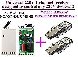 Universal 1-kanal Funkschalter Funkempfänger 220V + 2 Handsenders für alle Geräte mit 220V, 433,92MHz NO/NC